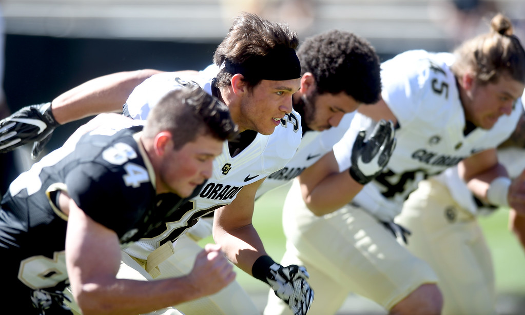 . Walk-on, Griffin Foulk, from Broomfield High, during the 2017 CU Spring Football Game on Saturday. For more photos, go to www.Buffzone.com Cliff Grassmick  Staff Photographer March 18, 2017