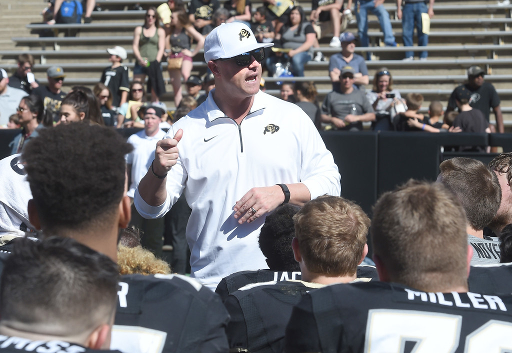 . Darrin Chiaverini talks to the offense after the 2017 CU Spring Football Game on Saturday. For more photos, go to www.Buffzone.com Cliff Grassmick  Staff Photographer March 18, 2017