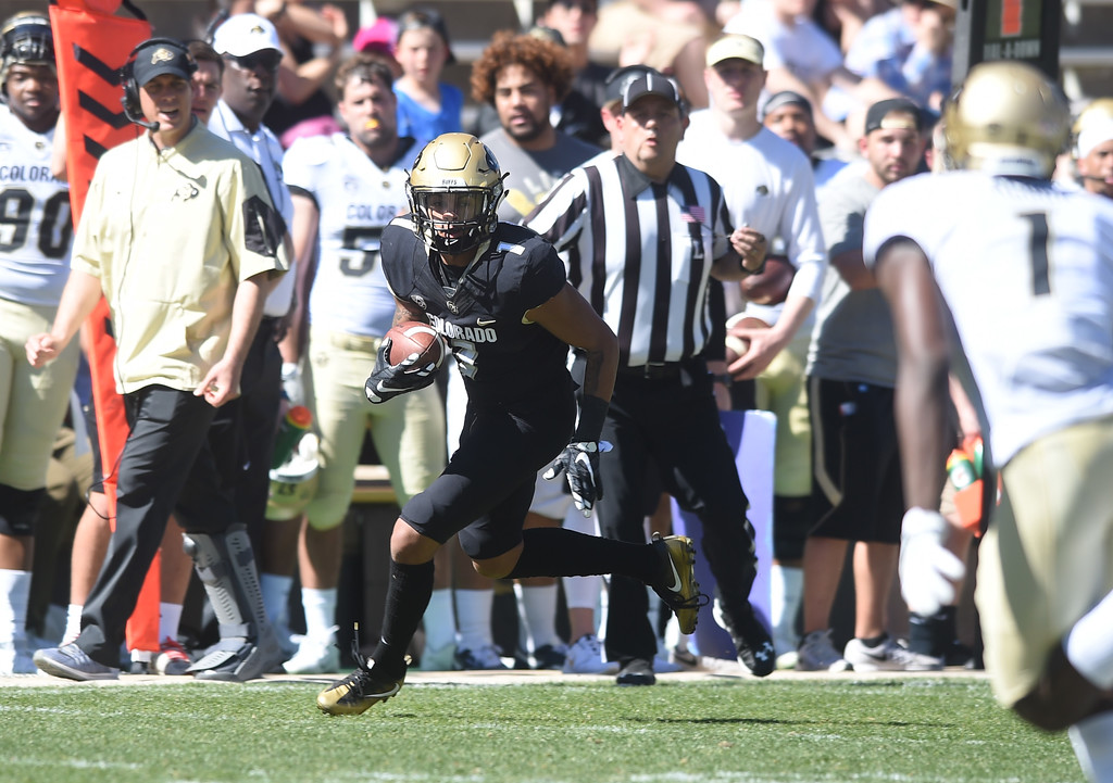 . Shay Fields during the 2017 CU Spring Football Game on Saturday. For more photos, go to www.Buffzone.com Cliff Grassmick  Staff Photographer March 18, 2017
