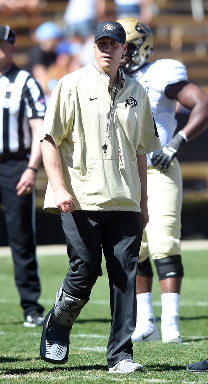 . New CU defensive coordinator, D.J. Eliot, during the 2017 CU Spring Football Game on Saturday. For more photos, go to www.Buffzone.com Cliff Grassmick  Staff Photographer March 18, 2017