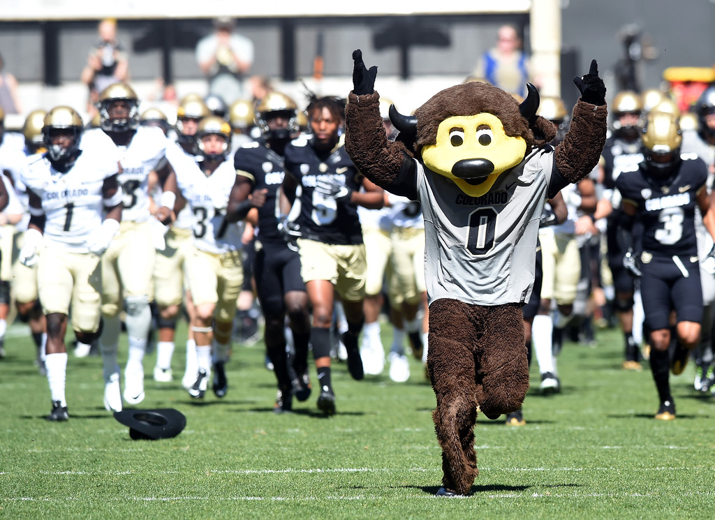 . Chip helps the team come out to play during the 2017 CU Spring Football Game on Saturday. For more photos, go to www.Buffzone.com Cliff Grassmick  Staff Photographer March 18, 2017