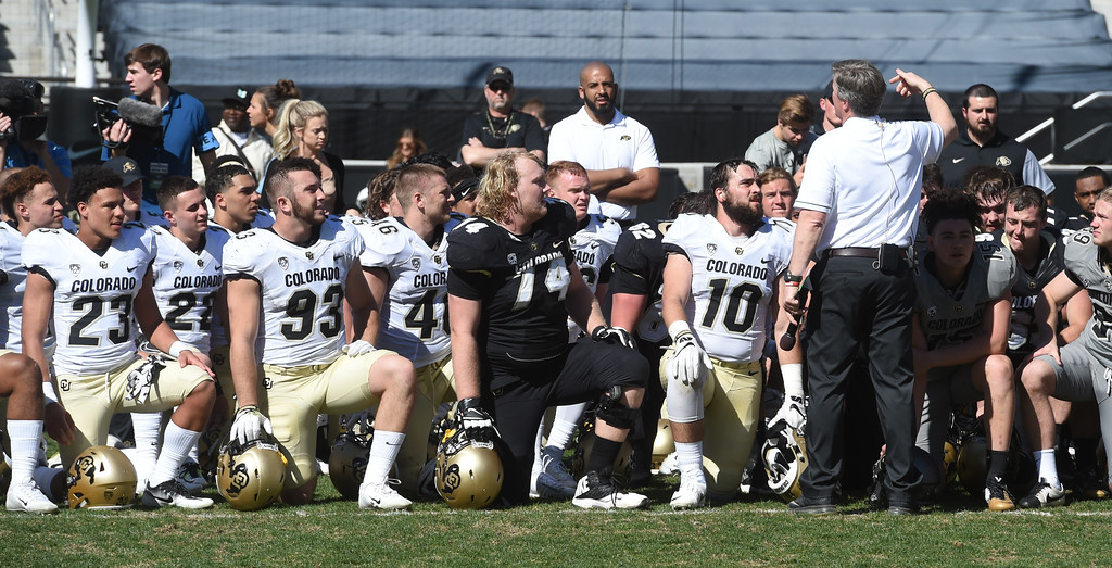 . CU head coach, Mike MacIntyre, talks to the team after the 2017 CU Spring Football Game on Saturday. For more photos, go to www.Buffzone.com Cliff Grassmick  Staff Photographer March 18, 2017
