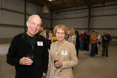 Allen Wood (left) and Nancy Wood (right) enjoy the Alumni Spring Barbecue that is held at the University Farm on Thursday, April 27, 2017, in Chico, Calif.  (Jessica Bartlett/ Photographer)