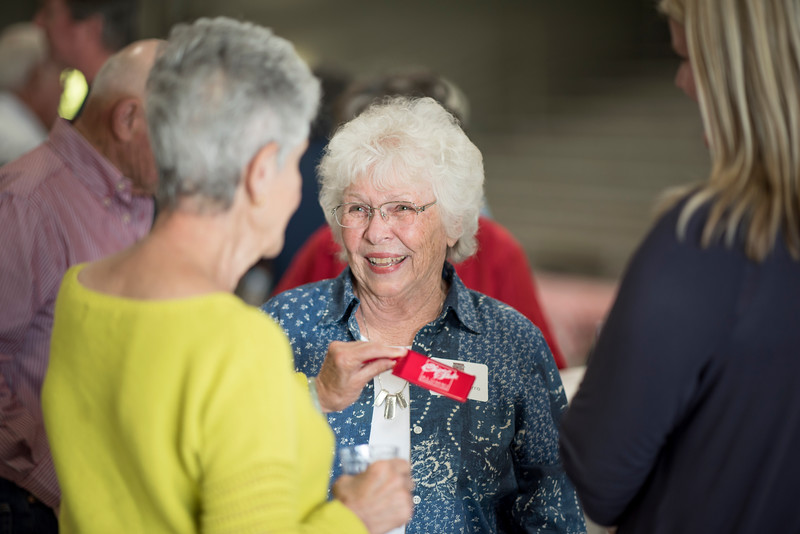 Maggie Navarro (right) enjoys the Alumni Spring Barbecue that is held at the University Farm on Thursday, April 27, 2017, in Chico, Calif.  (Jessica Bartlett/ Photographer)