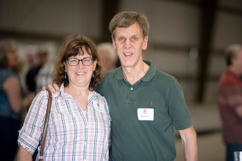 Lori Bowler (left) and Bill Bowler (right) enjoy the Alumni Spring Barbecue that is held at the University Farm on Thursday, April 27, 2017, in Chico, Calif.  (Jessica Bartlett/ Photographer)