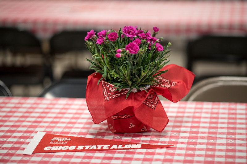 Flowers decorate the tables at the Alumni Spring Barbecue that is held at the University Farm on Thursday, April 27, 2017, in Chico, Calif.  (Jessica Bartlett/ Photographer)