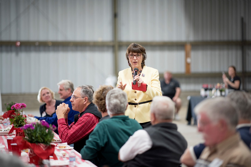 President Gayle Hutchinson speaks to the guests at the Alumni Spring Barbecue that is held at the University Farm on Thursday, April 27, 2017, in Chico, Calif.  (Jessica Bartlett/ Photographer)