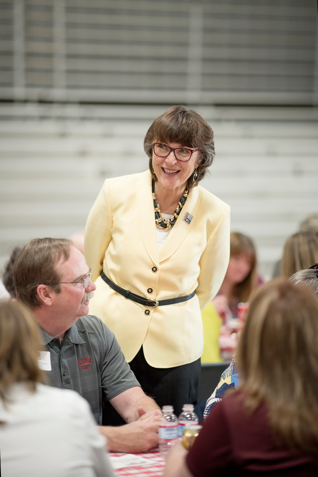 President Gayle Hutchinson enjoys conversations with the guests at the Alumni Spring Barbecue that is held at the University Farm on Thursday, April 27, 2017, in Chico, Calif.  (Jessica Bartlett/ Photographer)