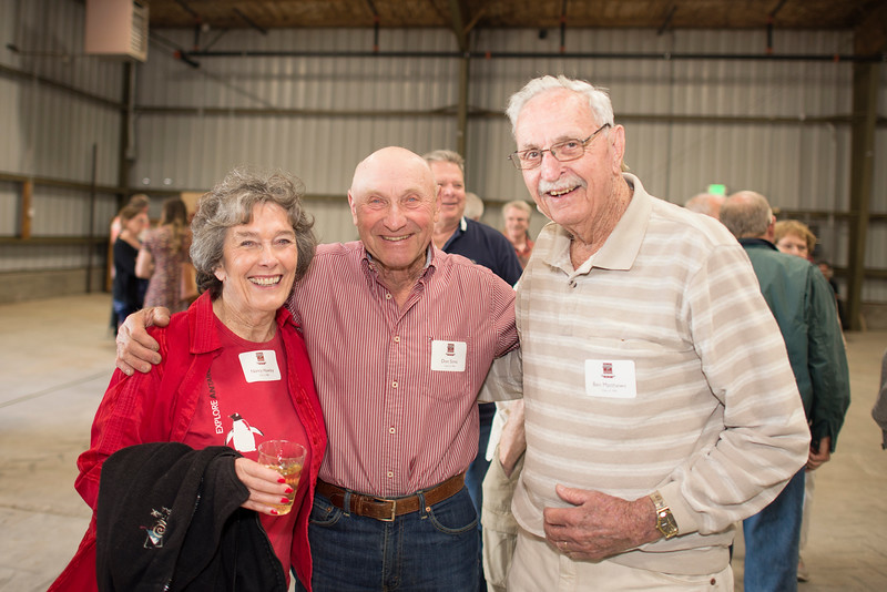 (from left to right) Nancy Hawley, Don Simic, and Ben Matthews, enjoy the Alumni Spring Barbecue that is held at the University Farm on Thursday, April 27, 2017, in Chico, Calif.  (Jessica Bartlett/ Photographer)