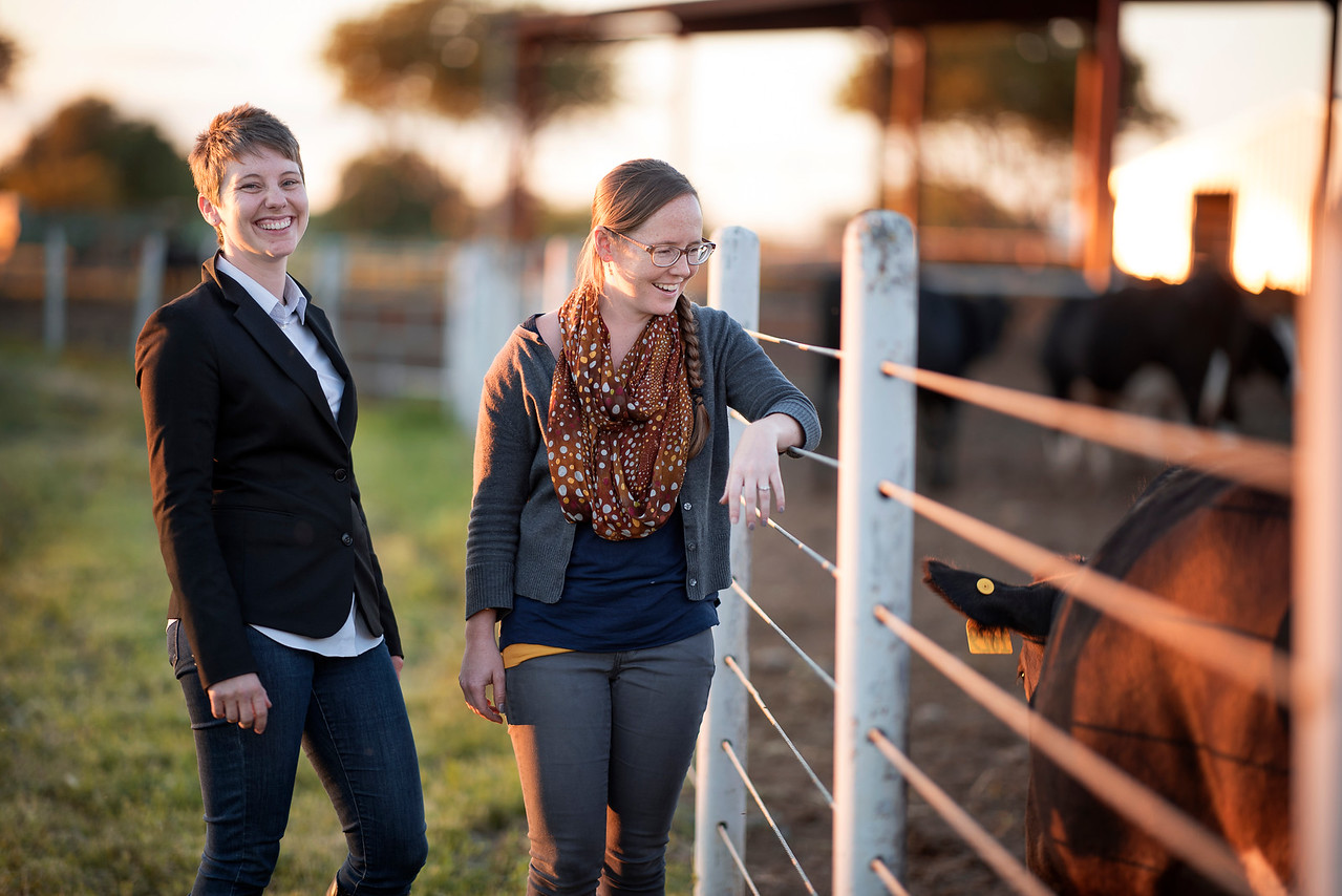 Katherine Post (left) and Ashley Gebb (right) enjoy the Alumni Spring Barbecue that is held at the University Farm on Thursday, April 27, 2017, in Chico, Calif.  (Jessica Bartlett/ Photographer)