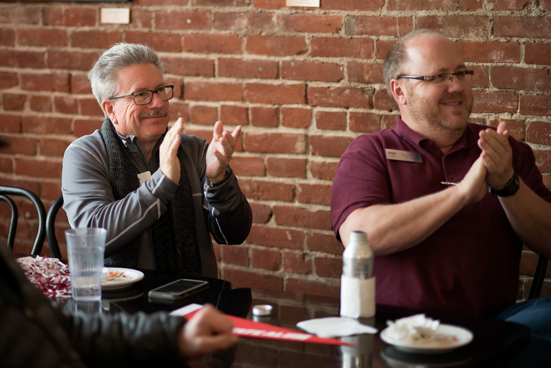 Rick Anderson (left) and Tim Colbie (right) enjoy the Alumni Association Basketball Reception at Broadway Heights on Saturday, January 28, 2017. <br /> (Jessica Bartlett/ Student Photographer)