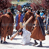 Ralph Chavez, center, from Bernalillo, portrays Jesus during the stations of the cross at the Santuario de Chimayo on Thursday, April 13, 2017. Parishioners with Our Lady of Sorrows youth group, from bernalillo, put on the re-enactment for pilgrims outside the Santuario. Luis Sánchez Saturno/The New Mexican