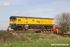 170403-058  DR79301, one of two powered vehicles belonging to Loram Corrective Rail Grinder, CRG1. Seen at High Marnham, having just been returned from Derby by Allelys Heavy Haulage.