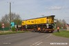 170403-056  DR79301, one of two power cars belonging Loram Corrective Rail Grinder CRG1, is seen arriving back at High Marnham aboard a Allelys low loader after being returned to Derby for attention to faulty bearings.