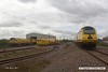 170412-016  A busy scene at the RIDC (Rail Innovation & Development Centre) Tuxford, to the right is the New Measurement Train, with 43014 The Railway Observer and 43062 John Armitt (out of view) which is being calibrated. to the left is Loram Rail Grinder CRG1, whilst in between is Plasser & Theurer USP6000NR Ballast Regulator DR77010.