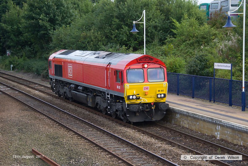170813-003  DB Cargo class 66/0 No 66017 is seen running 'light' through Mansfield Woodhouse on the Robin Hood Line, as 0E66, 17:50 Toton T.M.D. - Doncaster Belmont down yard.
