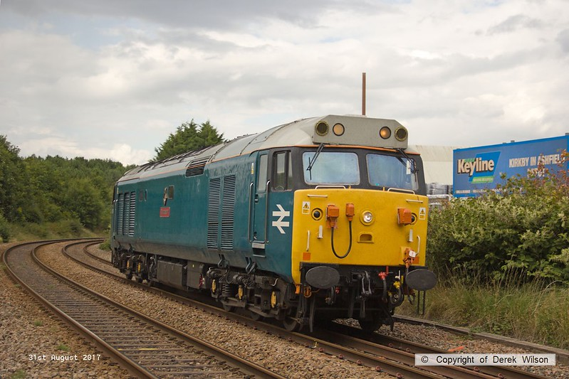 170831-008   Class 50 No 50008 Thunderer is seen passing Kirkby Summit on the Robin Hood Line. This had gone light to Thoresby to collect a Loram Rail Grinder from the High Marnham Test Track but the move was aborted, strangley the loco is recorded as having returned as 4Z02, 15:00 Thoresby Colliery Junction - Derby Etches Park sidings, rather than being changed to 0z02.