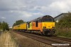 170818-002  Having visited the High Marnham Test Track with a test train for calibrating, Colas Rail Freight class 67's No's 67023 Stella & 67027 Charlotte are seen passing Sutton in Ashfield on the Robin Hood Line, top & tailing 1Z01, 16:00 High Marnham - Derby RTC.