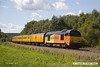 170817-019  Colas Rail Freight class 67's No's 67027 Charlotte & 67023 Stella are captured speeding along the double track section of the High Marnham Test Track with a Network Rail test train whilst being calibrated.