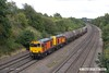 170824-019  Seen passing Hasland are HNRC orange 20314 & 20311 top & tail with 20096 & 20905 hauling the barrier wagons used on the LUL stock moves, running as 6Z10, 12:23 Derby Litchurch Lane - Barrow Hill L.I.P.