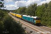 170817-013  DCR operated class 50 No 50008 Thunderer arrives back at the High Marnham Test Track with Loram PLG(01) Plain Line Rail Grinder in tow. The ensemble left the test trackearlier in the day, running to Leicester, then back up the Midland Main Line as far as Sheet Stores Junction where it turned off to Chaddesden, Derby. It had just returned as arrived as 4Z02, 12:30 Chaddesden sidings, Derby - Thoresby Colliery Junction. In the process the Grinder has been turned round.