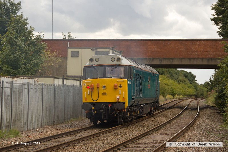 170831-010  Class 50 No 50008 Thunderer is seen passing Kirkby Summit on the Robin Hood Line. This had gone light to Thoresby to collect a Loram Rail Grinder from the High Marnham Test Track but the move was aborted, strangley the loco is recorded as having returned as 4Z02, 15:00 Thoresby Colliery Junction - Derby Etches Park sidings, rather than being changed to 0z02.