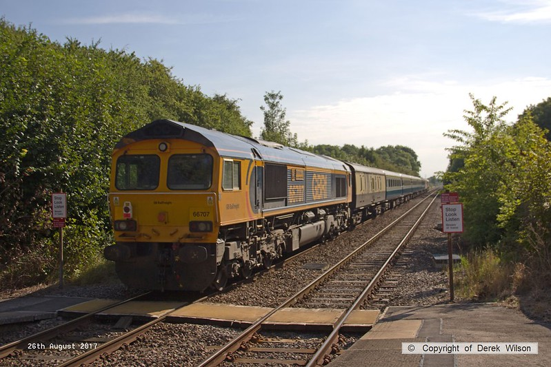 170826-004  GB Railfreight class 66/7 No 66763 Severn Valley Railway & 66707 Sir Sam Fay are captured 'top & tail' passing through Elton & Orston with 1S03, the 09:43 Nottingham - Skegness. This was a East Midlands Trains special service to meet the extra demand for the bank holiday weekend.