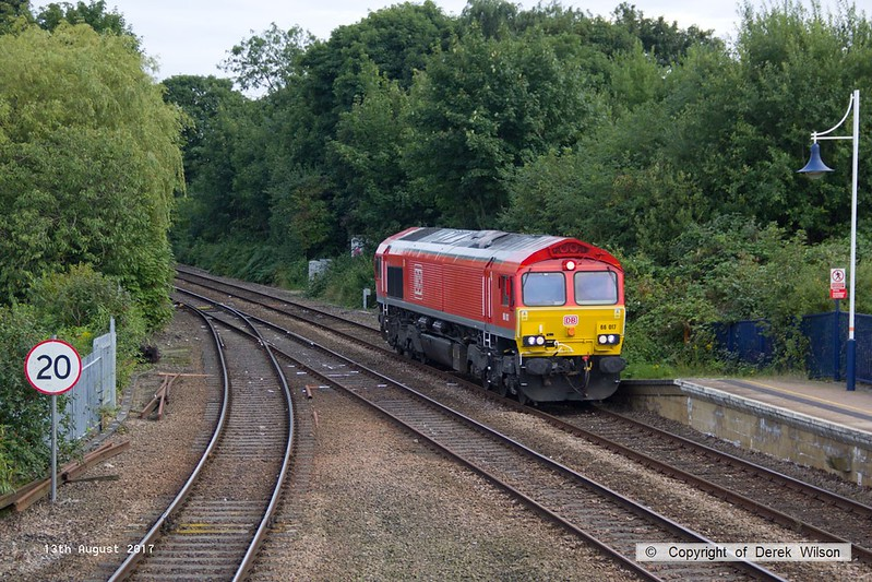 170813-002  DB Cargo class 66/0 No 66017 is seen running 'light' through Mansfield Woodhouse on the Robin Hood Line, as 0E66, 17:50 Toton T.M.D. - Doncaster Belmont down yard.