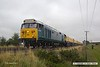 170817-005  Class 50 No 50008 Thunderer, on hire to DCR is captured pulling away from Thoresby with Loram PLG(01) Plain Line Rail Grinder in tow. Running as 4Z01, 06:59 Thoresby Colliery Junction - Leicester - Chaddesden sidings, Derby.