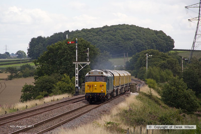170804-008  English Electric class 50 No 50008 Thunder is captured passing the former Clipstone Junctions with 4Z01, 12:10 Thoresby Colliery Junction - Derby RTC. In tow is Loram Corrective Rail Grinder CRG1 (DR79301 - 304) which is heading back to Loram at Derby, then on to Carlisle.