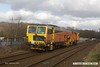 170224-004  Colas Rail track tamper No DR73908 passes Kings Mill foot crossing at Mansfield, running as 6J90, 10:17 Leagrave Tamper Sidings - Retford.