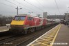 170207-003  Virgin East Coast class 91 No 91109 Sir Bobby Robson speeds through Newark North Gate, propelling 1E05, the 07:30 Edinburgh - London King's Cross.