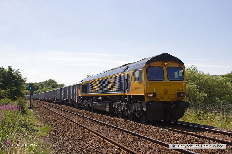 170718-003  GB Railfreight class 66/7 No 66705 Golden Jubilee is seen passing Sutton-in-Ashfield with 6E89, 10:20 Wellingborough up TC - Rylestone.
