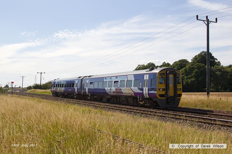 170716-002  Northern class 158 No 158903 is seen passing Rushey Sidings, Retford, with 2P21, the 15:43 Sheffield - Lincoln.