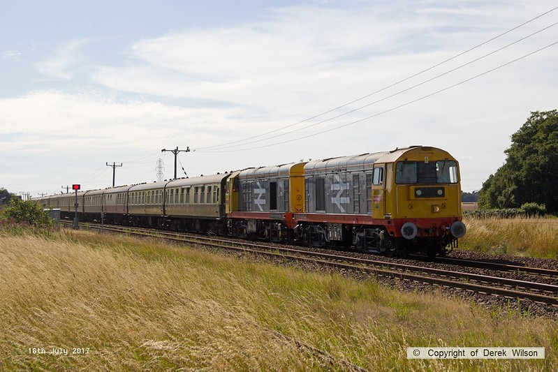 """170716-004  Harry Needle's class 20's No's 20132 Barrow Hill Depot & 20118 Saltburn-by-the-Sea are captured passing Rushey Sidings, Retford, powering GB Railfreight's """"Charitable Chibble"""" railtour."""