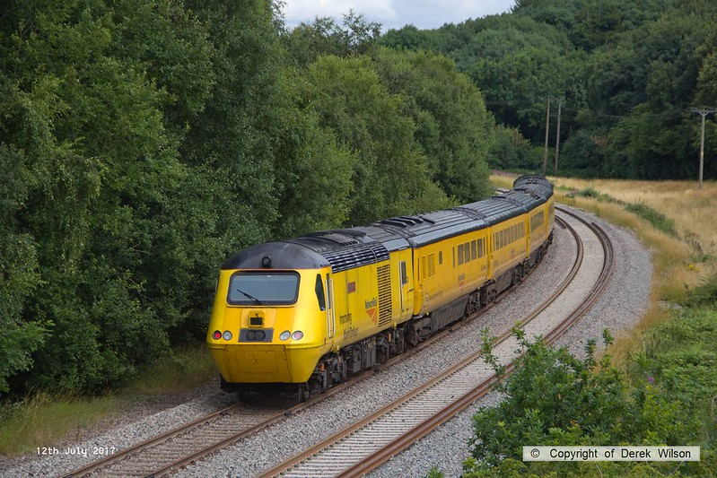 170712-017  Visiting the test track for calibrating on Wednesday 12 July was the Network Rail NMT top & tailed with 43013 & 43062 John Armitt, captured nearing Boughton Junction, running as 1Z10, 11:15 Derby RTC - High Marnham