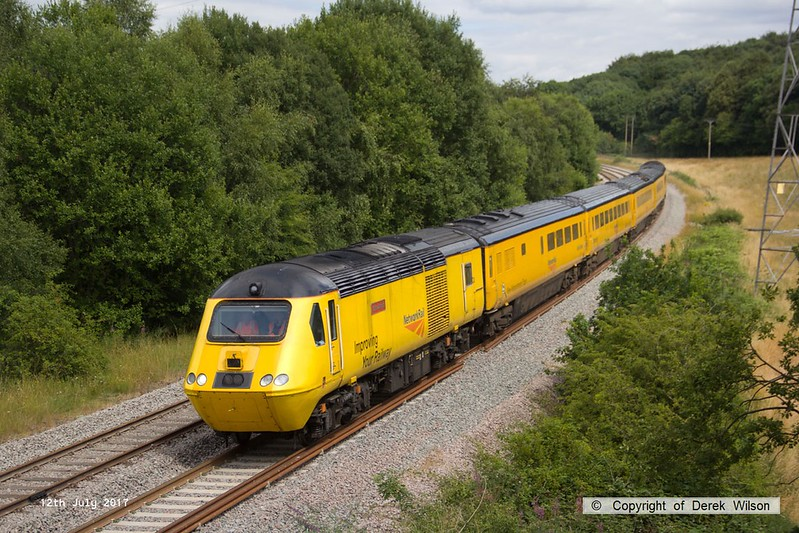170712-020  The 'not so new' New Measurement Train (NMT) seen near Boughton Junction, speeding along the doubled section of the High Marnham Test Track during a calibrating run. Leading is 43062 John Armitt, and at the rear is 43013.