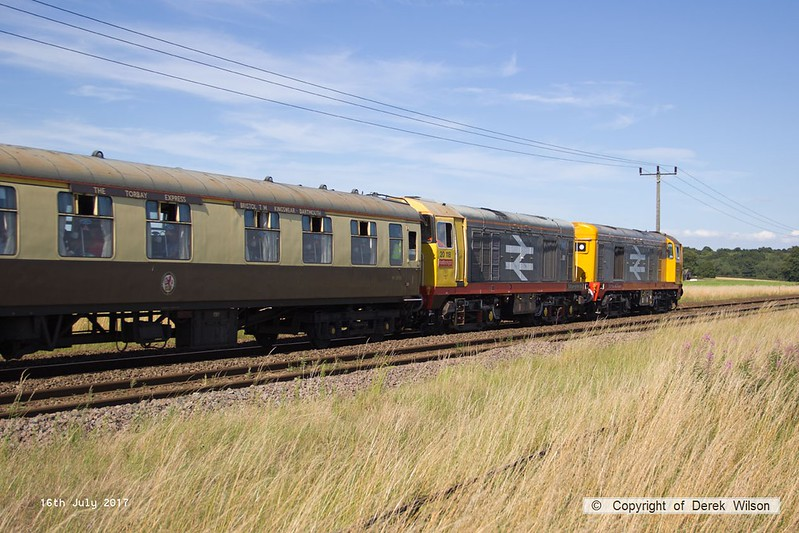 "170716-003  Harry Needle's class 20's No's 20132 Barrow Hill Depot & 20118 Saltburn-by-the-Sea are captured passing Rushey Sidings, Retford, powering GB Railfreight's ""Charitable Chibble"" railtour."
