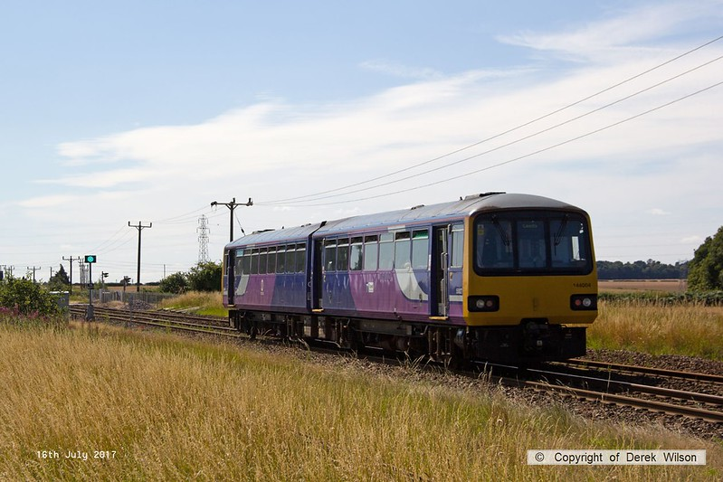 170716-001  Northern class 144 pacer unit No 144004 passing Rushey Sidings, Retford, with 2L12, the 15:15 Lincoln - Leeds.