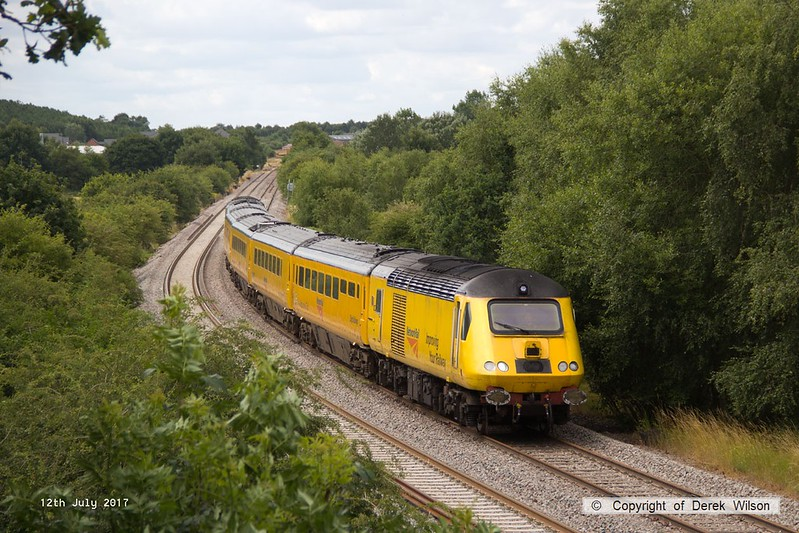 170712-003  Visiting the test track for calibrating on Wednesday 12 July was the Network Rail NMT top & tailed with 43013 & 43062 John Armitt, captured nearing Boughton Junction, running as 1Z10, 11:15 Derby RTC - High Marnham.