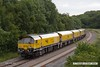 170612-011  DCR class 56 No 56303 is captured at Ollerton, approaching Boughton Junction on the High Marnham Test Track. In tow is Loram Corrective Rail Grinder CRG1, DR79301 - 304, the ensemble arrived on the test track as 4Z01, 06:26 Chaddesden Sidings - Thoresby Colliery Junction.