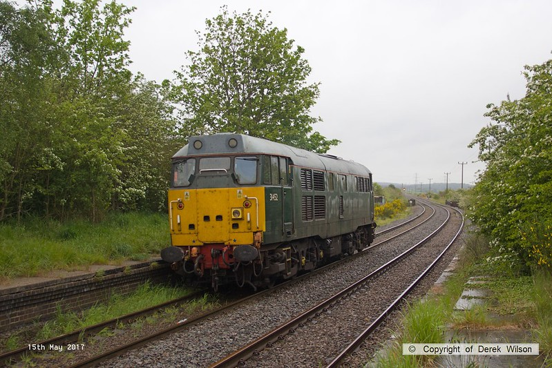 170515-016  DCR class 31 No 31452 running 'light' as 0Z01, 08:22 Thoresby Colliery Junction - Derby RTC. It is seen passing through the former Lancashire Derbyshire & East Coast Railway station at Edwinstowe which was closed to regular passenger trains by BR in 1955.