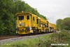 170517-002  Network Rail's new Plasser & Theurer USP6000NR Ballast Regulator No DR77010 which is undergoing commissioning trials failed the previous night & was left stranded near Boughton Junction. The New Measurement train was due to visit the test track for calibration, but because of this blocking the down main it was terminated on arrival at Shirebrook, and returned to Derby early, on a VSTP path.