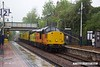 170529-001  Test train 1Q64, 08:53 Derby RTC - Doncaster West Yard trundles through a very wet Kirkby-In-Ashfield, on the Robin Hood Line, powered in top & tail mode by Colas Rail Freight class 37's, No's 37116 & 37219 Jonty Jarvis.