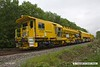 170517-003  Network Rail's new Plasser & Theurer USP6000NR Ballast Regulator No DR77010 which is undergoing commissioning trials failed the previous night & was left stranded near Boughton Junction. The New Measurement train was due to visit the test track for calibration, but because of this blocking the down main it was terminated on arrival at Shirebrook, and returned to Derby early, on a VSTP path.