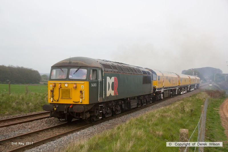 170502-024  Problem seems to be sorted & 56303 is now moving normally with the Rail Grinder in tow, train 8Z01, 21:00 Thoresby Colliery Junction - Derby RTC. Captured passing Clipstone West still 210 minutes early!!