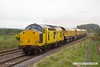 170519-011  Network Rail class 97 No 97301 is captured on the LDECR passing Clipstone West, powering train 4Z01, 16:00 Thoresby Colliery Junction - Chaddesden sidings 17:45. In tow is Loram Rail Grinder CRG1, DR79301 - 304 which is being taken to Bishop Auckland, via Derby. It is to stay up North for a week and then be returned to Tuxford.
