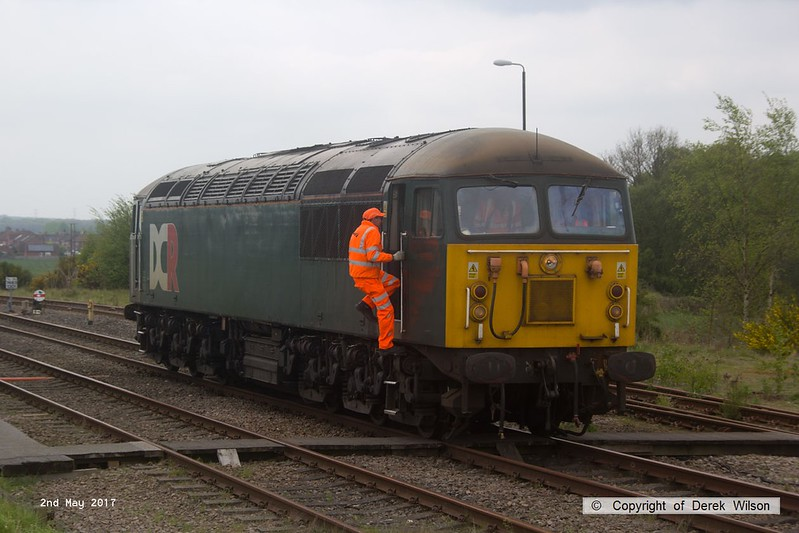 170502-004  The RIDC manager, Phil Walker with the Annetts key, climbing aboard DCR class 56 No 56303 at Thoresby.