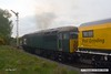 170502-025  Problem seems to be sorted & 56303 is now moving normally with the Rail Grinder in tow, train 8Z01, 21:00 Thoresby Colliery Junction - Derby RTC. Captured passing Clipstone West still 210 minutes early!!