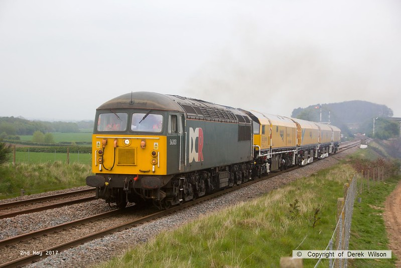 170502-022  Problem seems to be sorted & 56303 is now moving normally with the Rail Grinder in tow, train 8Z01, 21:00 Thoresby Colliery Junction - Derby RTC. Captured passing Clipstone West still 210 minutes early!!